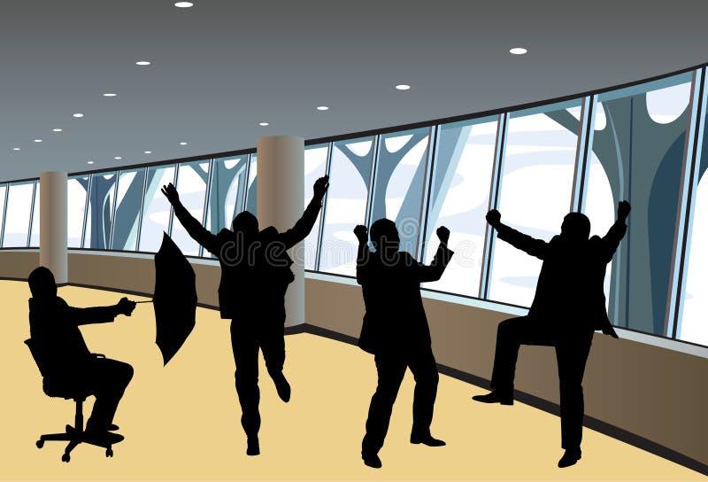 Siluette felici degli uomini d'affari nel vettore interno illustrazione di stock