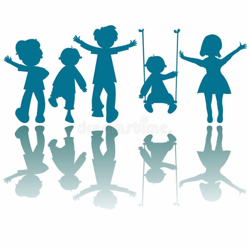 Siluette felici dei bambini royalty illustrazione gratis