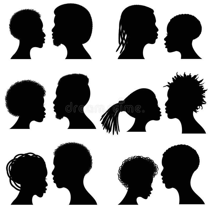 Siluette femminili e maschii africane di vettore del fronte Ritratti afroamericani delle coppie per nozze e progettazione romanti royalty illustrazione gratis
