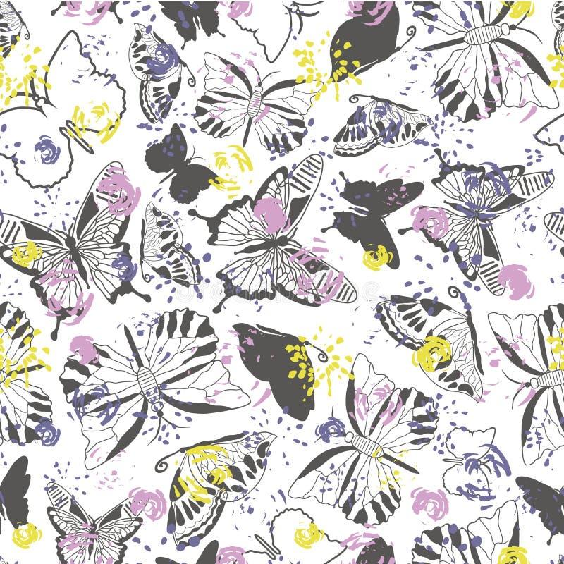 Siluette grige eleganti moderne della farfalla su fondo floreale astratto leggero Reticolo senza giunte di vettore illustrazione vettoriale