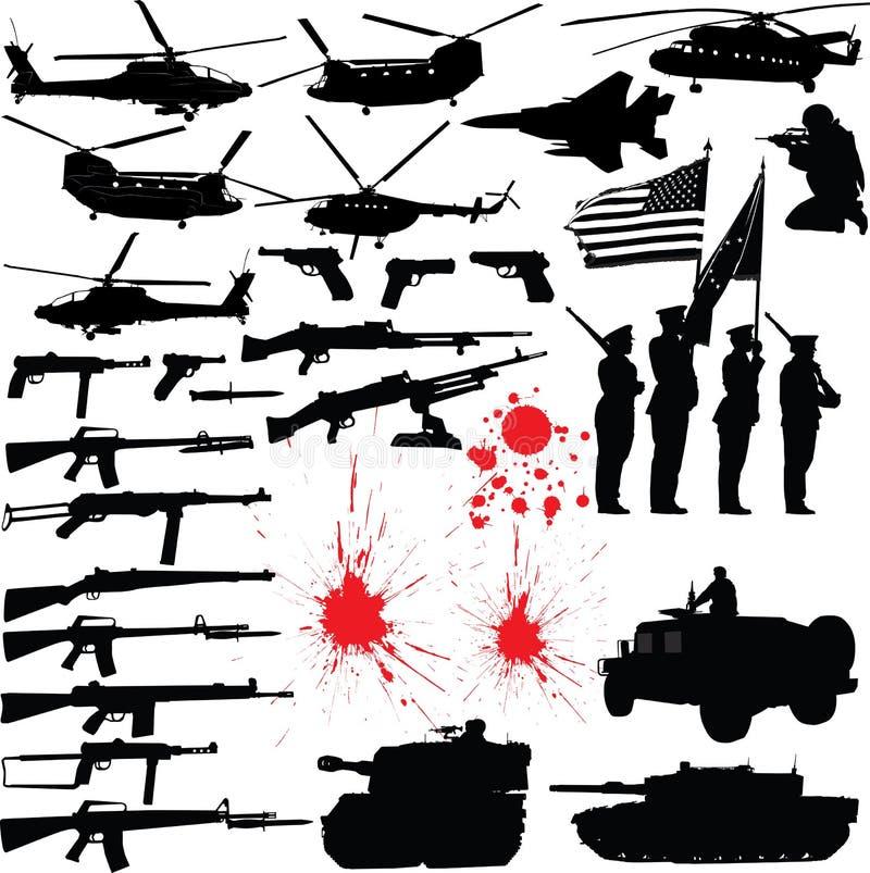 Siluette militari royalty illustrazione gratis