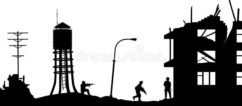 Siluette militari nere Casa di assalto dei soldati con i terroristi Scena della città rotta Panorama di guerra royalty illustrazione gratis