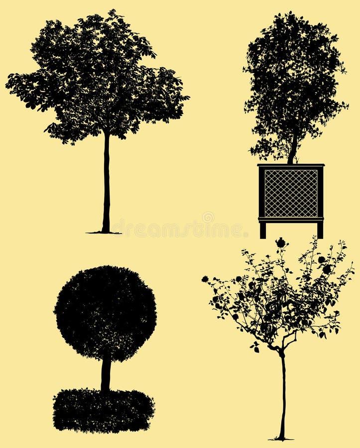 Siluette molto dettagliate degli alberi illustrazione di stock