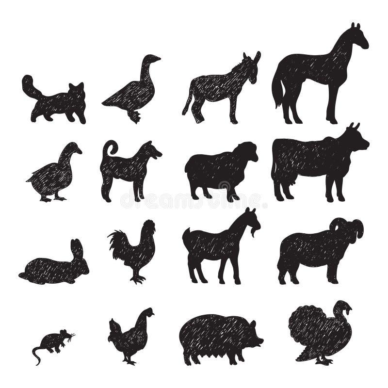Siluette nere degli animali da allevamento illustrazione di stock