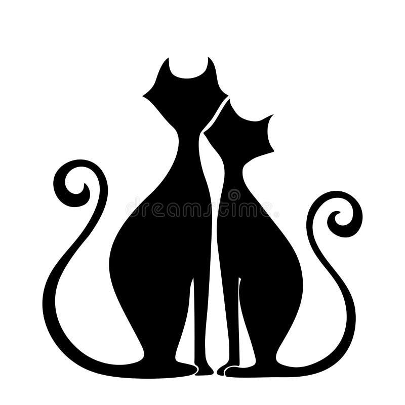 Siluette nere dei gatti nell'amore Illustrazione di vettore illustrazione vettoriale