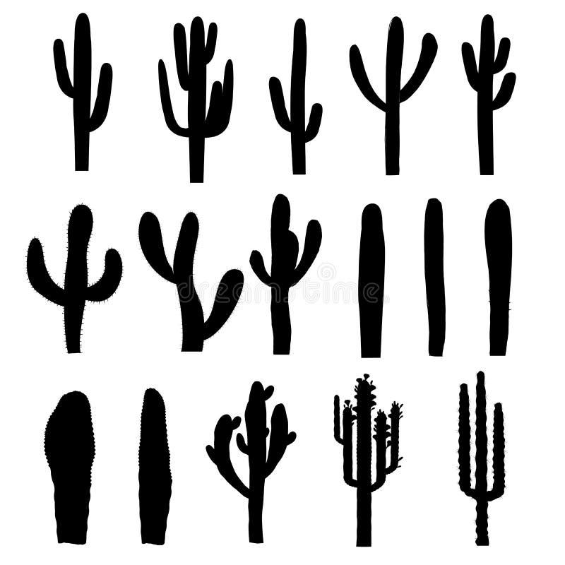 Siluette nere del cactus del saguaro Vettore illustrazione di stock