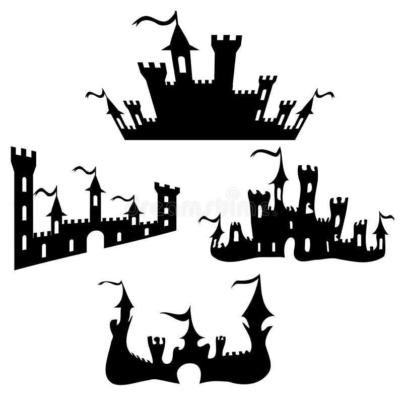 Siluette nere del castello di vettore messe su bianco illustrazione vettoriale