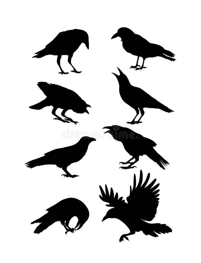 Siluette nere del corvo illustrazione di stock