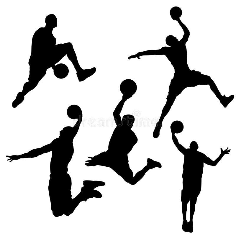 Siluette nere di un giocatore di pallacanestro su un fondo bianco illustrazione di stock