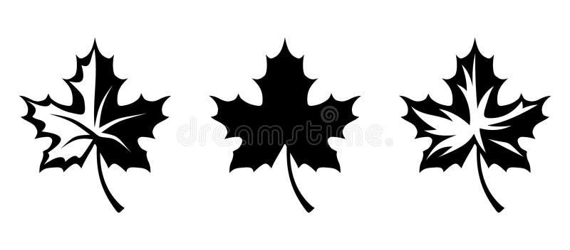 Siluette nere di vettore delle foglie di acero royalty illustrazione gratis