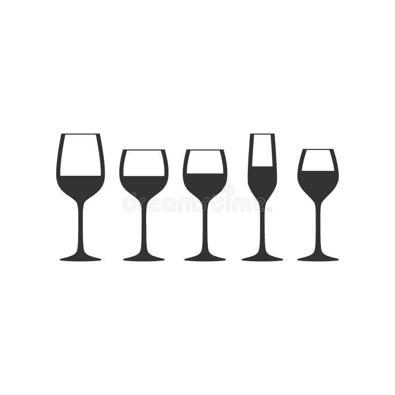 Siluette nere piene di vetro di vettore del vino illustrazione di stock