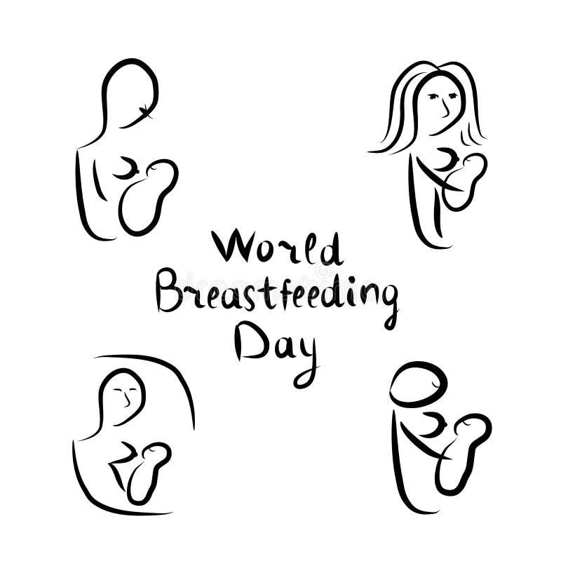 Siluette nere stabilite della donna con allattamento al seno del bambino Iscrizione dell'iscrizione Giorno di allattamento al sen royalty illustrazione gratis
