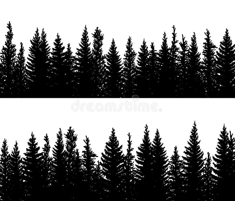 Siluette orizzontali dell'insegna della foresta di conifere attillata illustrazione di stock