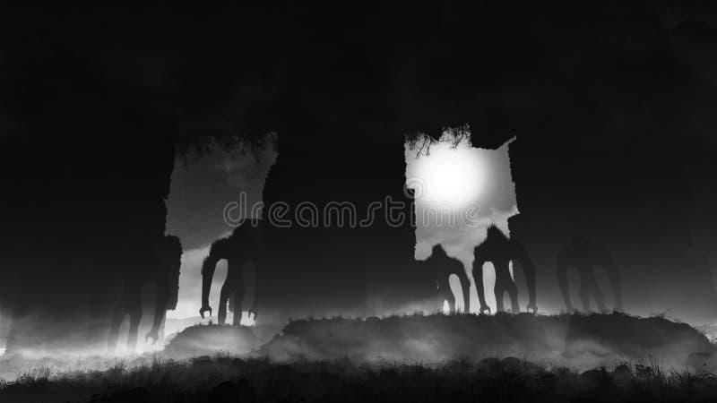 Siluette terrificanti nell'ambiente scuro illustrazione di stock