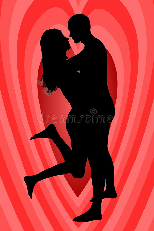 Download Siluettelovers With A Heart Stock Photos - Image: 824603