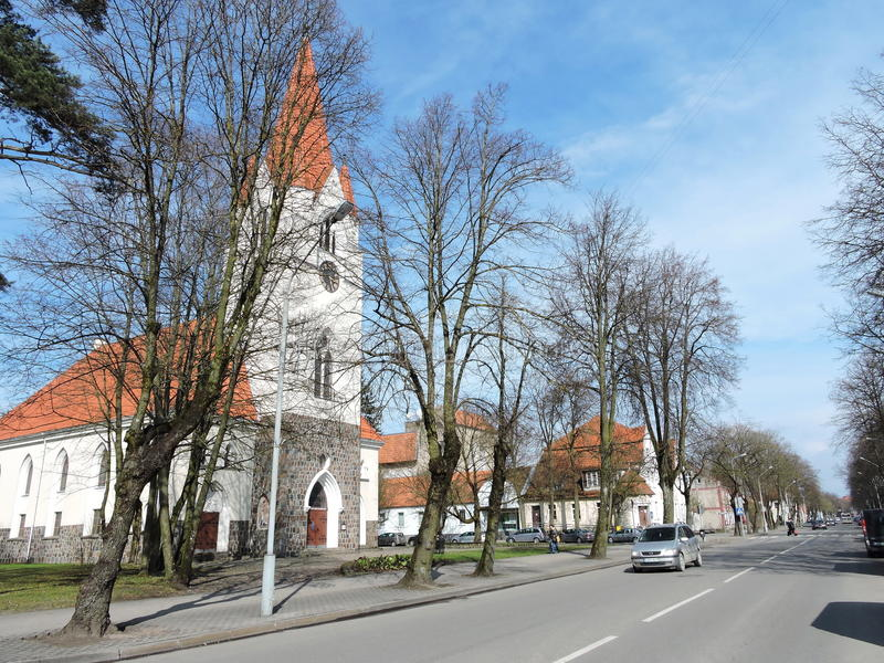 Silute town, Lithuania. Main Lietuvininku street in Silute , Lithuania stock image