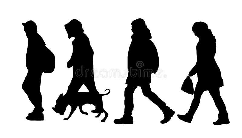 Siluyu-Leute gehen Sie den Hund, Nehmen vektor abbildung