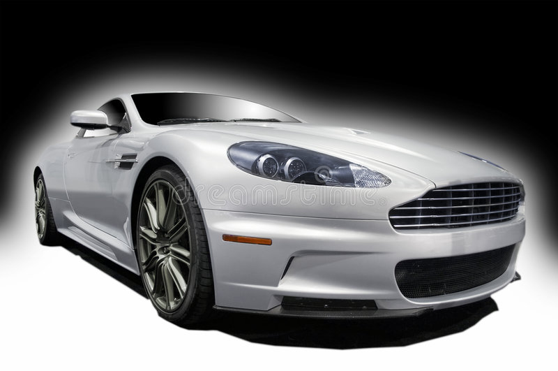 Silve sports car stock image