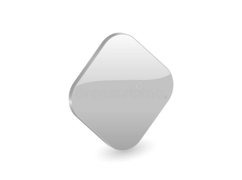 Silver 3d rhomb icon royalty free illustration