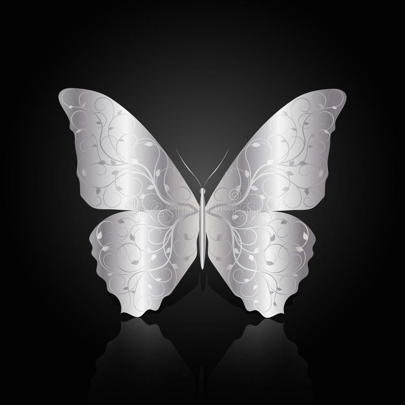 Silver abstract butterfly on black background. Silwer abstract butterfly with floral pattern on black background with reflection vector illustration