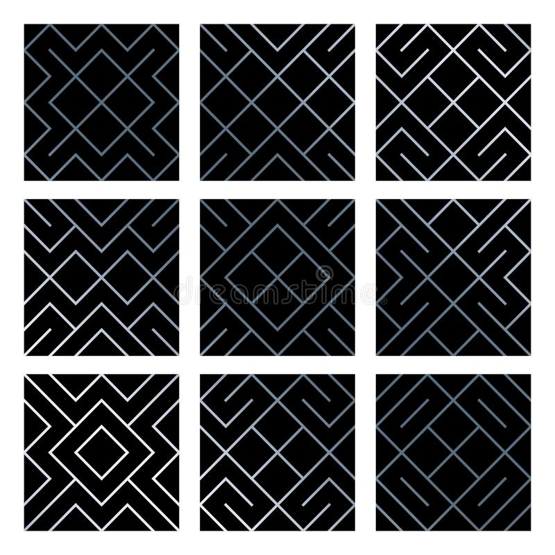 Silver abstract geometric seamless pattern tile backgrounds set with glittering mesh texture. Vector pattern of rhombus and metal stock illustration