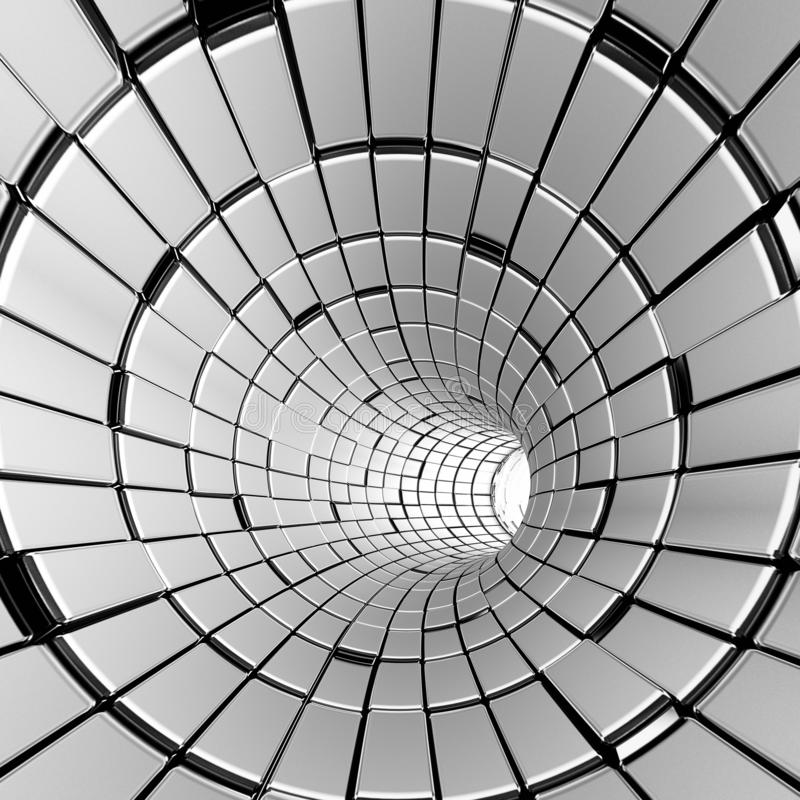Silver abstract tunnel shapes futuristic royalty free stock photo