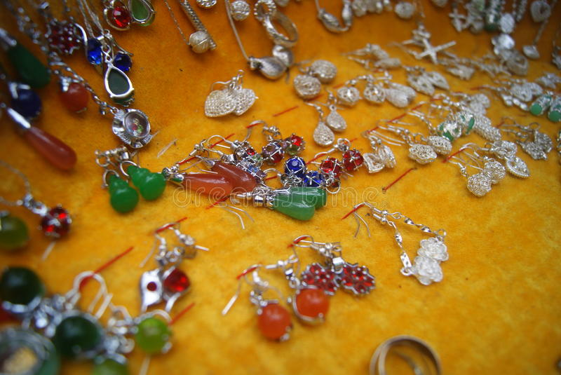 Silver Accessories. Silver jewelry close-up. This is Chinese Miao silver jewelry stock photos