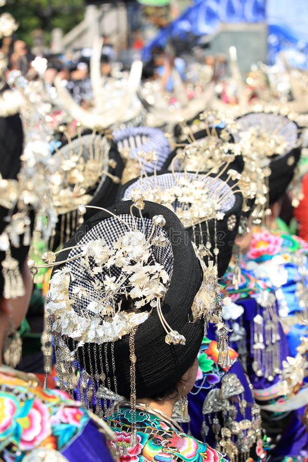 Silver accessories of Miao nationality. Wearing on woman's hair and clothes to celebrate the local festival at fenghuang ancient town,china oct,13,2013 royalty free stock photography