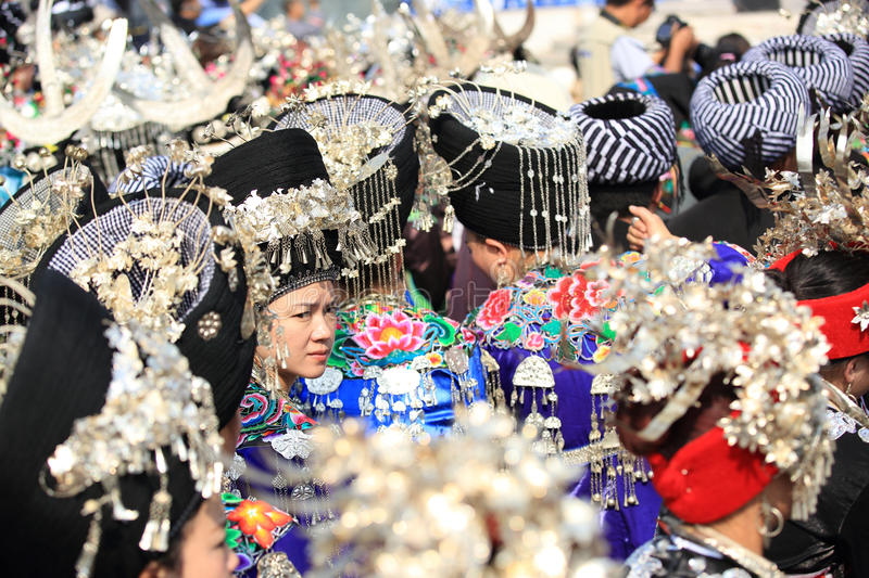 Silver accessories of Miao nationality. Wearing on woman's hair and clothes to celebrate the local festival at fenghuang ancient town,china oct,13,2013 stock photography