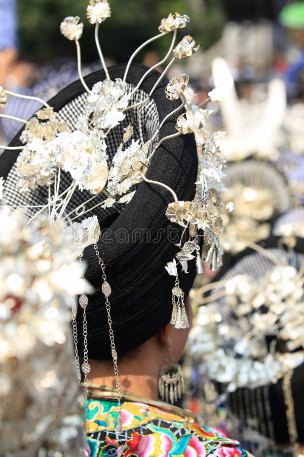 Silver accessories of Miao nationality. Wearing on woman's hair and clothes to celebrate the local festival at fenghuang ancient town,china oct,13,2013 stock images