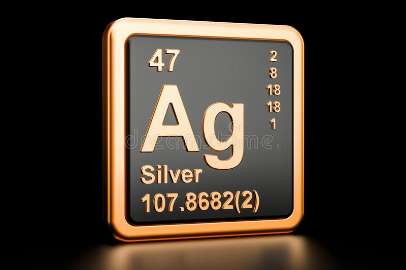 Silver Ag chemical element. 3D rendering. Isolated on black background vector illustration