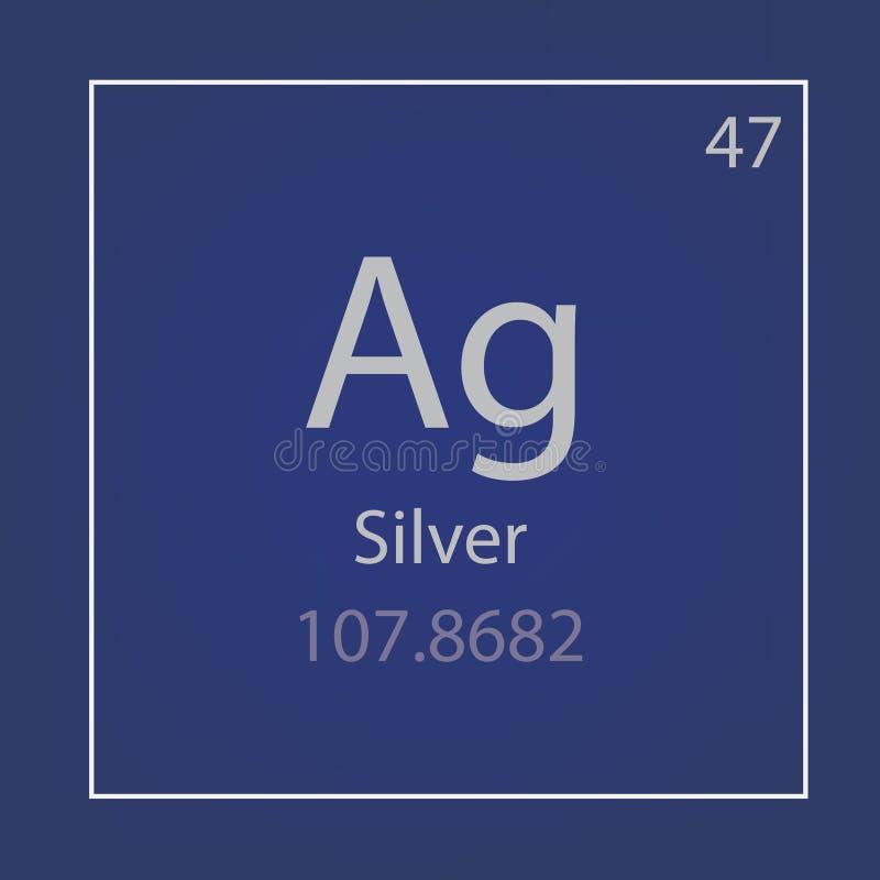 Silver Ag chemisch elementenpictogram royalty-vrije illustratie