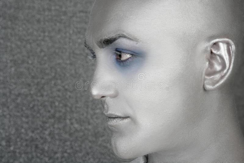 Download Silver Alien Man Profile Portrait Extraterrestrial Stock Photo - Image: 14561540