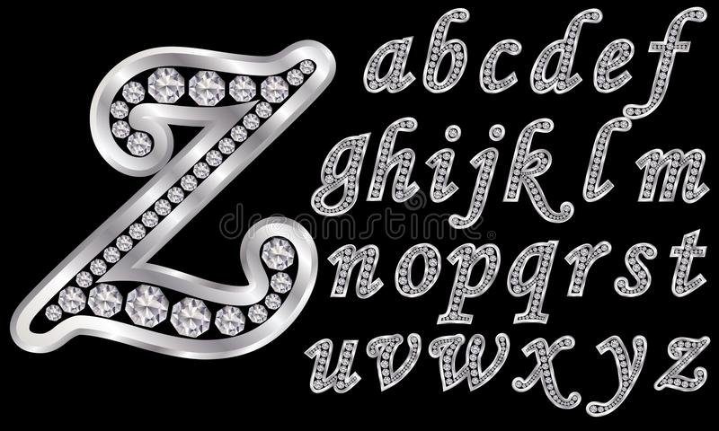 Silver alphabet with diamonds, letters from A to Z vector illustration