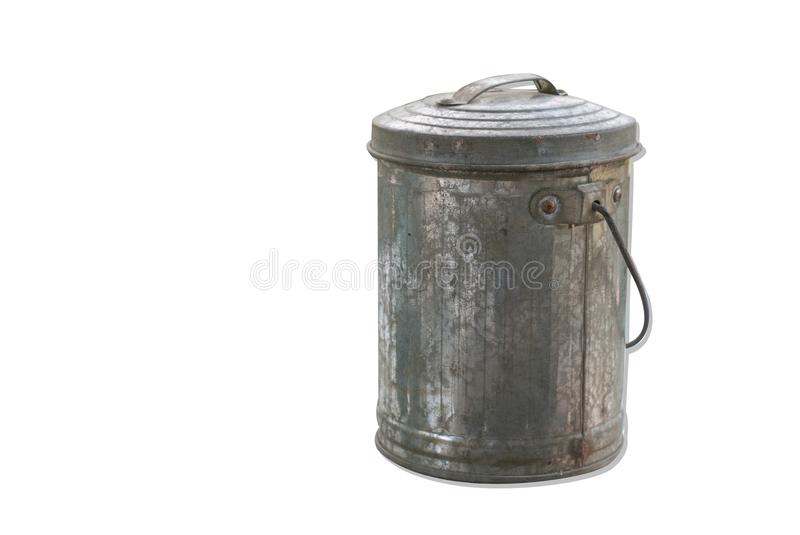 Silver aluminium vintage small bucket for saving money isolated. On white background stock images