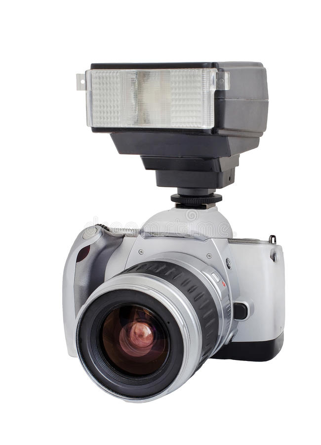 Download Silver Analog Camera With Lens And Flash Isolated On A White Background Stock Photo - Image: 48466898
