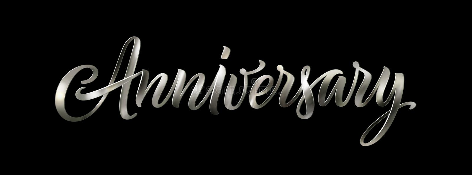 Silver anniversary text isolated on black background. Vector elegant 3D lettering. Vintage calligraphy word for a happy royalty free illustration