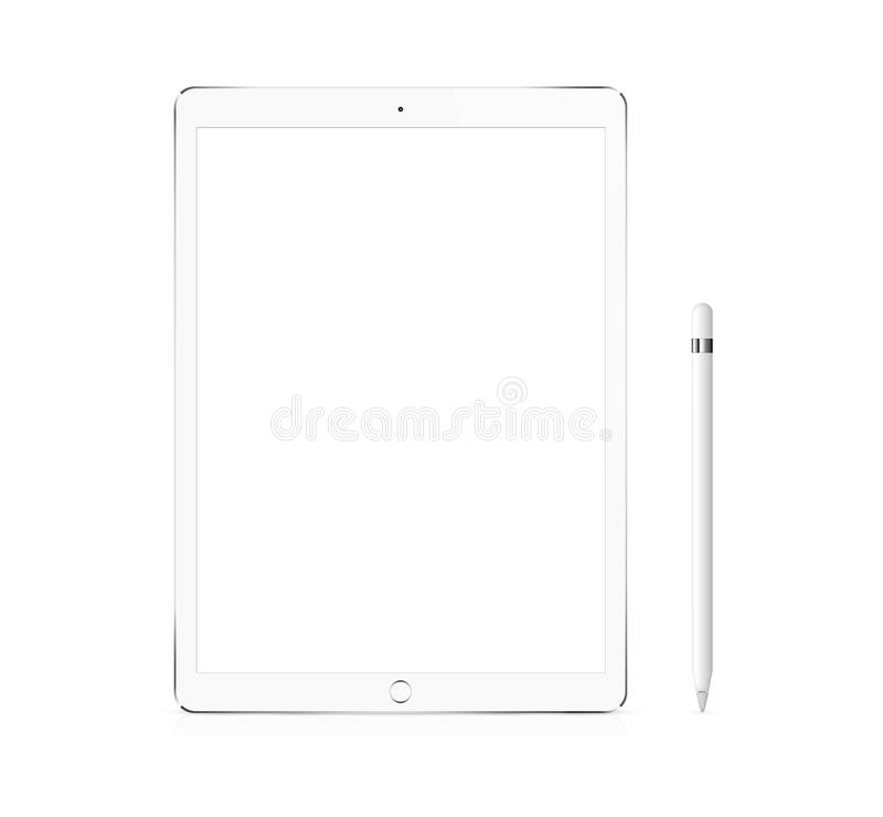Silver Apple iPad Pro portable device with pencil. Silver Apple iPad Pro portable device mockup with pencil royalty free stock photo