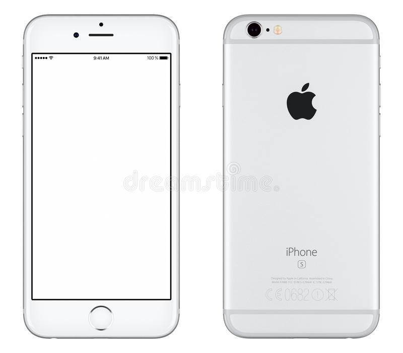 Silver Apple iPhone 6s mockup front view and back side stock photos