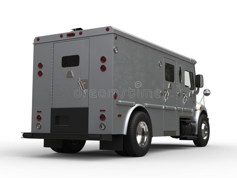 Silver Armored Cash Transport Truck - Tail Low Angle View Stock ...