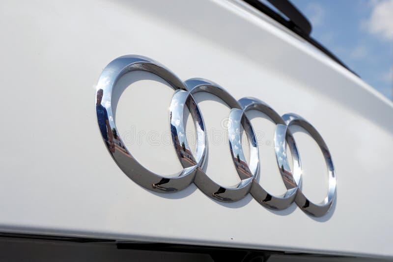 Silver Audi Car Emblem royalty free stock images
