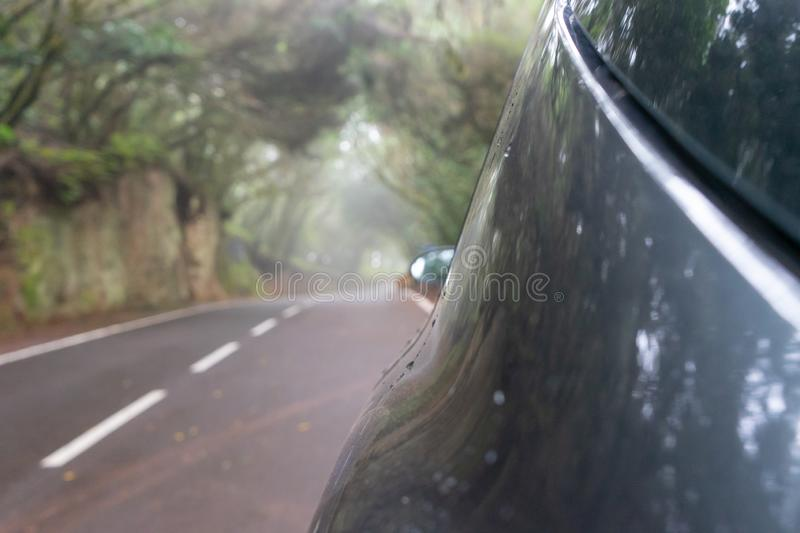 Silver auto in creepy forest and foggy route in a journey to scape, driving with safety in an asphalt mountain road. Car parked. With drop of water in the side stock photos