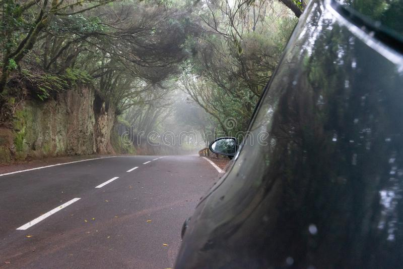 Silver auto in creepy forest and foggy route in a journey to scape, driving with safety in an asphalt mountain road. Car parked. With drop of water in the side royalty free stock images