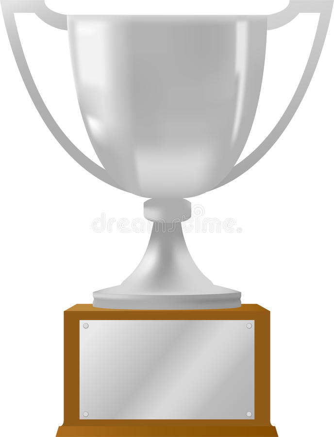 Silver Award Trophy/ai. Illustration of a silver loving cup type trophy with a plaque for personalization
