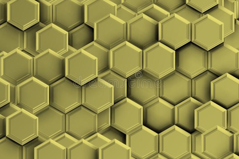Silver backgound with hexagons. stock image