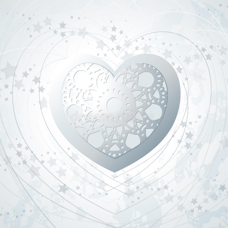 Download Silver Background With Heart Stock Vector - Image: 23996622