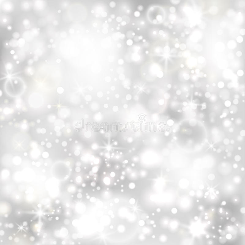 Silver background with stars and twinkly lights stock photos