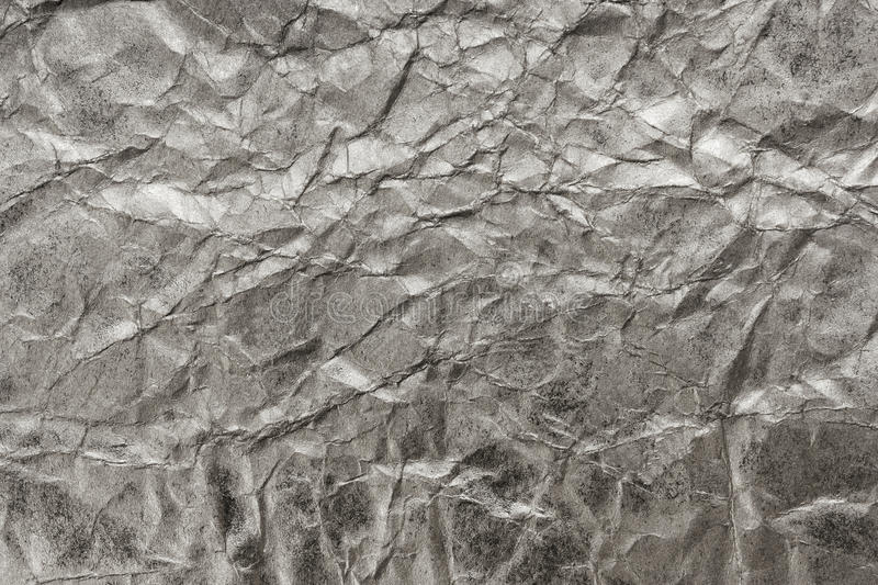Silver background, texture. Of crumpled paper stock image