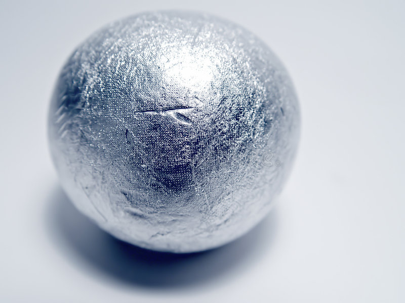 Silver Ball. Made out of Cigerette Foil Paper, from Cigarette packs royalty free stock images