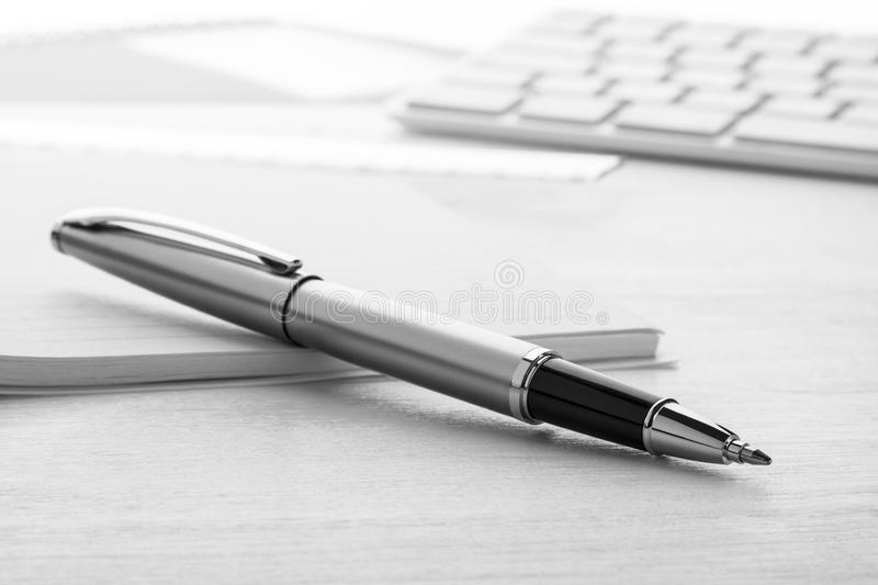 Silver ball pen royalty free stock images